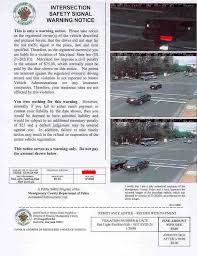 traffic light camera ticket montgomery county maryland red light camera project