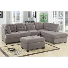 Beige Tufted Sofa by 2pcs Sectional Sofa Smooth Waffle Suede Tufted Sofa Reversible