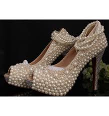 wedding shoes peep toe anklets pearl bling bridal shoes peep toe heels wedding heels