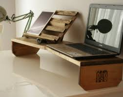 Wood Desk Accessories And Organizers Wood Laptop Stand Etsy