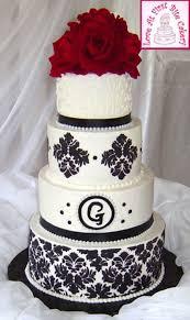 stenciled black white red wedding cake cakecentral com