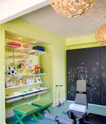 basement playroom u0026 gym with bright yellow wallpaper chalkboard