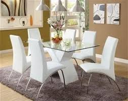 White Leather Dining Chairs Australia Retro Glass Top Dining Table Set With 6 Pu Leather Chairs White