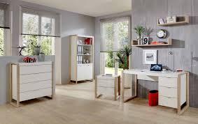 ensemble bureau biblioth ue bureau design 3 tiroirs coloris blanc chêne frany bureau bureau
