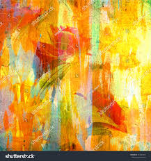Colorful Painting by Grunge Colorful Painting Artificial Rose On Stock Illustration