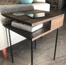 mid century end table modern nightstand minimal side table mid century
