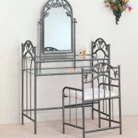 Wrought Iron Vanity Set Furniture White Wooden Makeup Vanity Sets With Shelves And