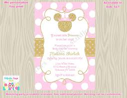 minnie mouse baby shower invitation invite pink gold