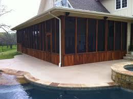 very long screen room on patio beside pool hundt patio covers