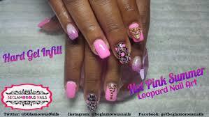 how to hard gel infill pink summer leopard nail art