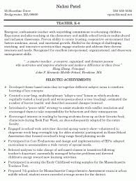 Teachers Resume Objectives Objective Elementary Teacher Resume Virtren Com