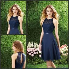 2015 short navy blue bridesmaid dress halter high neck cutout back