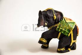 thai elephant color black resin with clock for home decoration