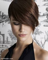 a layered hair wrap snug fitting short haircut with a wrap around fringe