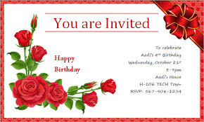 nice sample birthday card invitation simple creation flower red