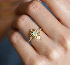 flower tattoo ring ehering finger hand elegant vintage opal ring ethiopian opal ring