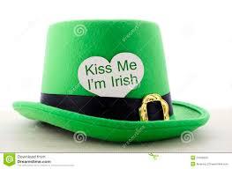 happy st patricks day green leprechaun hat stock photo image