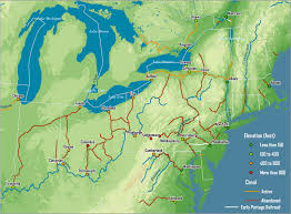 map of the erie canal major canals built in the 19th century northeast
