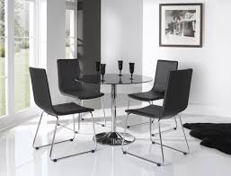 Leather Chairs For Kitchen Table Dining Room Small Square Glass Dining Table And 4 Faux Chairs In