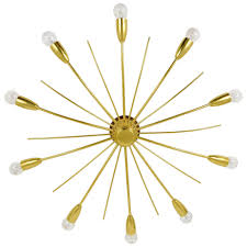 Brass Chandelier J T Kalmar Kalmar Sonne Sun Shaped Modernist Brass Chandelier
