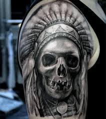 gentleman with indian skull half sleeve design
