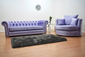 chesterfield 3 seater sofa and cuddle chair lavender