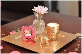 Gold Table Centerpieces by A Pink And Gold Cue The Confetti Themed Baby Shower