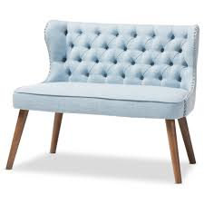 Loveseat Settee Upholstered Baxton Studio Scarlett Mid Century Modern Brown Wood And Light