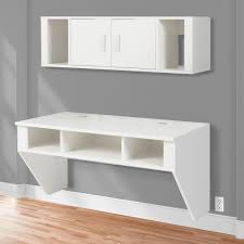 White Computer Desk Bcp Designer Floating Desk With Hutch White Finish Wall Mounted