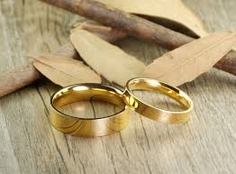 couple rings gold images Handmade gold flat plain matching wedding bands couple rings set tit JPG