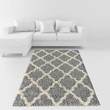 Shaggy Grey Rug Amazon Com Soft Shag Area Rug 3x5 Moroccan Trellis Grey Ivory