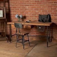 set de bureau personnalisé bureau personnalisé en bois récupéré avec pieds en acier dans le