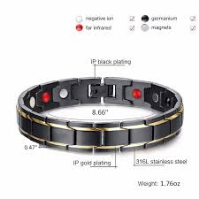 black magnetic bracelet images Magnetic therapy black stainless steel w gold stripes bracelet jpg
