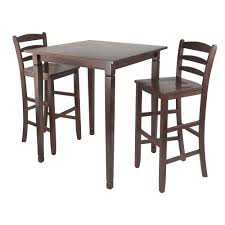 high table with four chairs winsome kingsgate 3 piece walnut pub dining set table chair brown