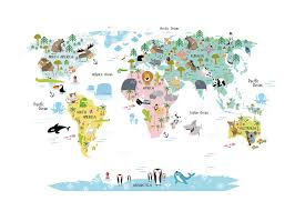 Hungary World Map Kids U0027 Poster With World Map With Animals Nice Posters For Kids