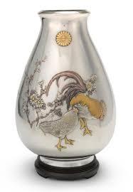 a japanese silver and mixed metal vase miyamoto tokyo circa