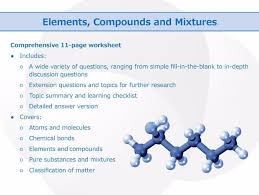 elements compounds and mixtures worksheet by