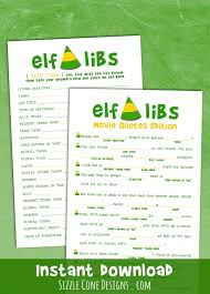 thanksgiving mad libs for adults elf libs movie quotes printable christmas party game madlib