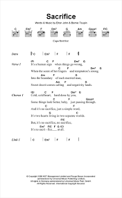 sacrifice sheet music by elton john lyrics u0026 chords u2013 117689