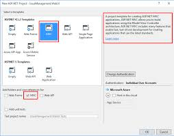 which template should be select for creating an asp net mvc5