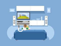 home interior vector interior home cinema flat illustration