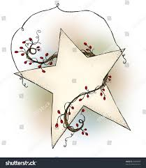 country style hanging star red berry stock illustration 61689985