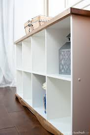 Cube Bookcase Farmhouse Console Table Diy From Cube Bookcase A Houseful Of