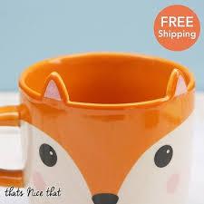 cute fox mug gift home animal novelty drink tea coffee ceramic
