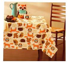 fall animal critters owl fox thanksgiving vinyl tablecloth