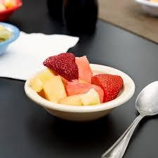 kl80525 kingline 4 75 oz tan rimmed fruit bowl 48 case
