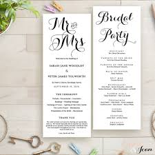 reception program template byron printable wedding order of service template wedding