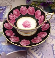 vintage china with pink roses vintage paragon china black pink gold trim tea cup and
