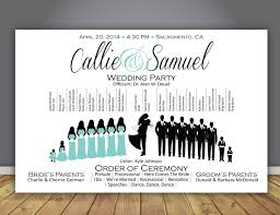 party silhouette silhouette wedding program wedding party horizontal layout