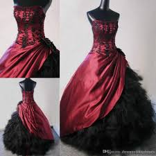 ball gown victorian gothic bridal gowns new burgundy black corset